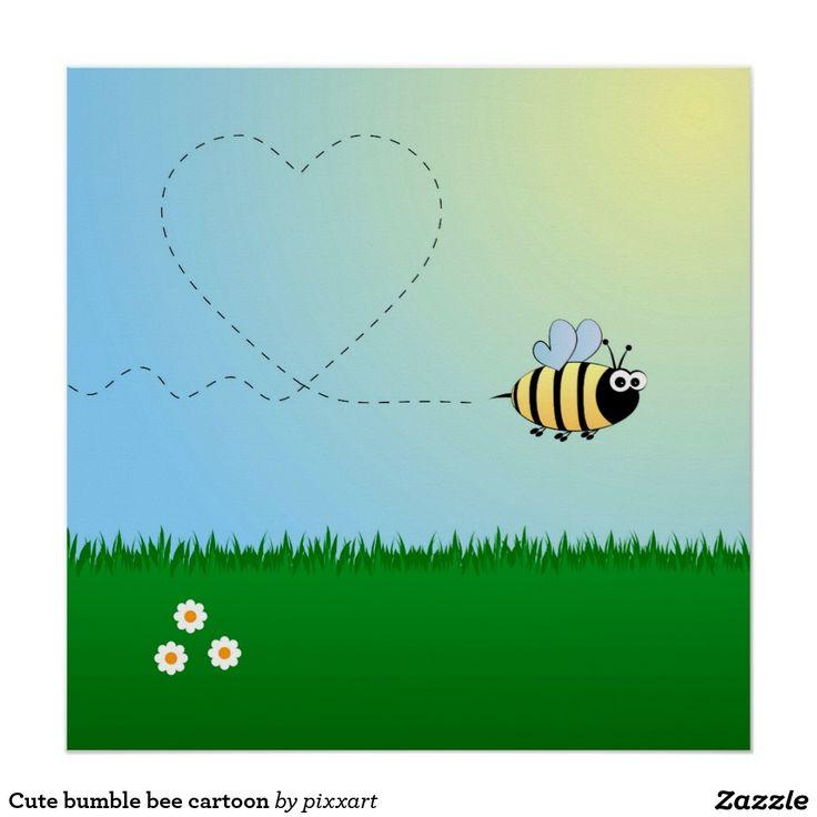 Cute bumble bee cartoon poster