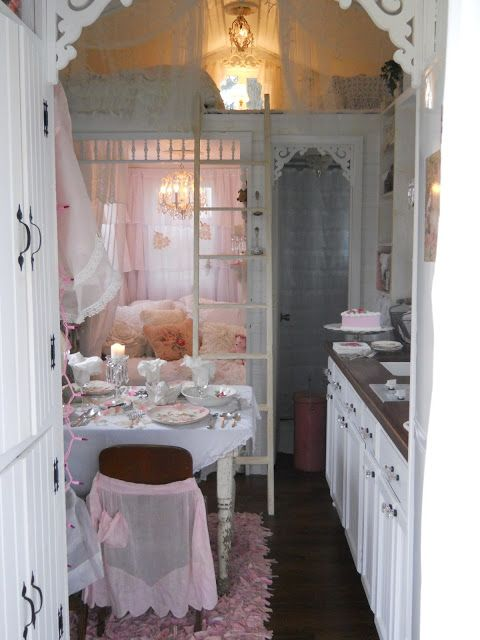 Hosting a party in a tiny house.  Go to the website for a pictorial tour of this shabby chic tiny house.