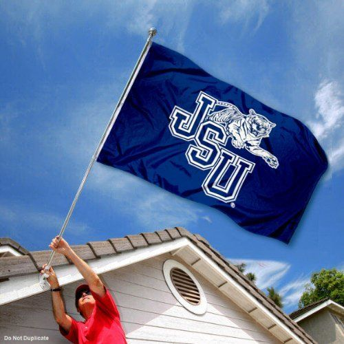 Jackson State Tigers JSU University Large College Flag by College Flags and Banners Co.. $29.95. Officially Licensed and Approved by Jackson State University. Made of Polyester with Quadruple-Stitched Flyends for Durability. Perfect for your Home Flagpole, Tailgating, or Wall Decoration. 3'x5' in Size with two Metal Grommets for attaching to your Flagpole. College Logos viewable on Both Sides (Opposite side is a reverse image). Our Jackson State Tigers Flag measures 3x5 feet in ...