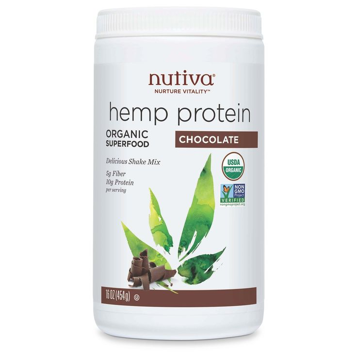 Nutiva Hemp contains high-quality plant protein with branched-chain amino acids that are vital for good health. It also has all nine essential amino acids, with the bonus of good-for-you essential fatty acids (2g per serving). Nutiva hemp protein powders contain 66% edestin (a bioactive globulin protein that's easy to digest) - more than any other plant! Nutiva Organic Hemp Protein Chocolate is Vegan, comes in a non-BPA container and is certified organic and non-GMO.