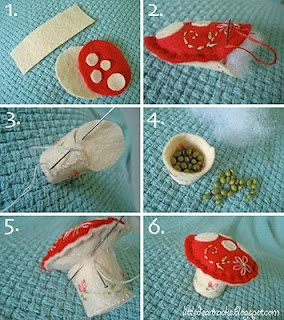 Sew a mushroom Pincushion (other free, cute patterns, projects and embroidery tutorials on this site)