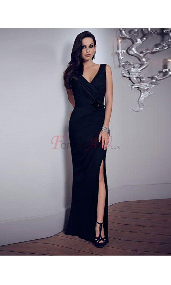 Sheath V-neck Chiffon Formal Dresses/Long Evening Dresses with Rhinestone FAU1404P801712 - Formalau.com