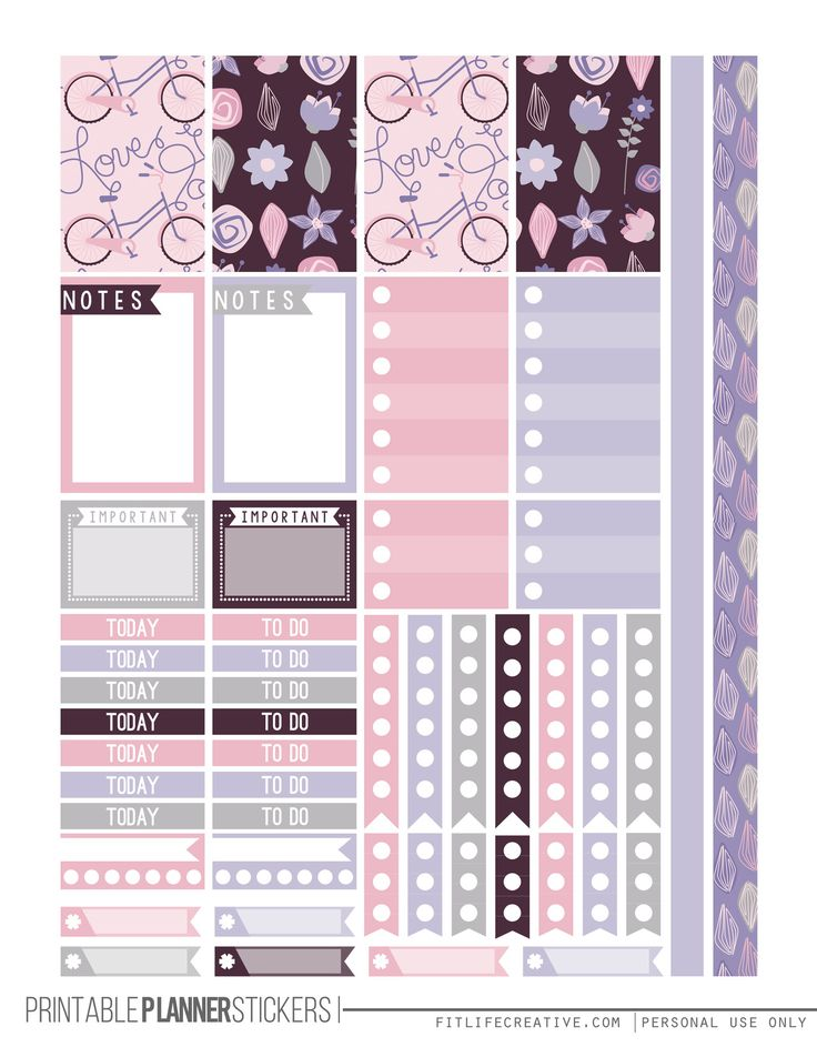 FREE Love Purple Happy Planner Stickers for the the Happy Planner