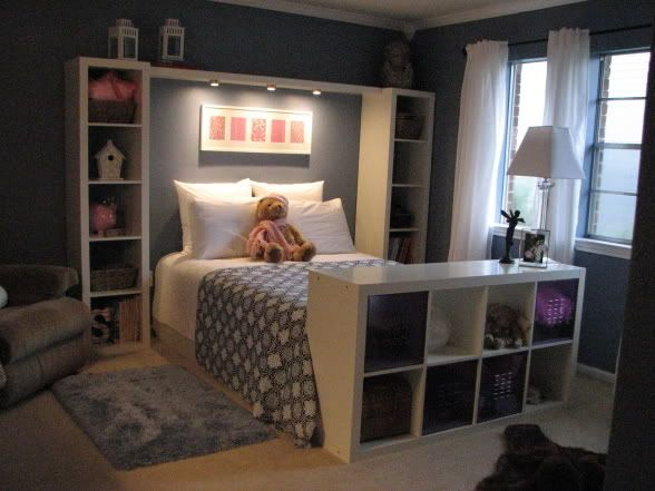 Combine shelving with bedside tables, and add a bookshelf to the foot of the bed for extra storage. Edit: We have two of these units already! :)