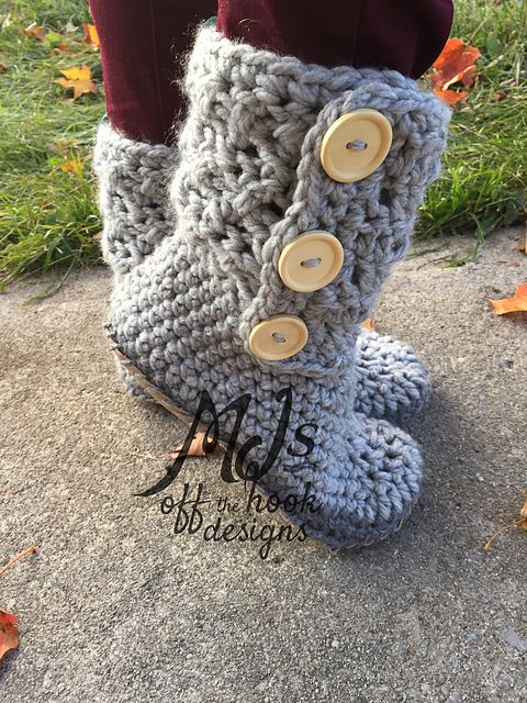 This is a PDF crochet pattern for cozy warm slipper boots! These slippers were the most popular item in my shop last year!!! To make my slippers more durable I decided to add leather bottoms. I've included with this pattern a tutorial on how to cut and attach leather bottoms to your slippers. I've included adult sizes 5-12. Like many of my other patterns I've designed them to work up fast! The recommended yarn for these slippers is Bernat softee chunky super bulky weight #6. You will need…