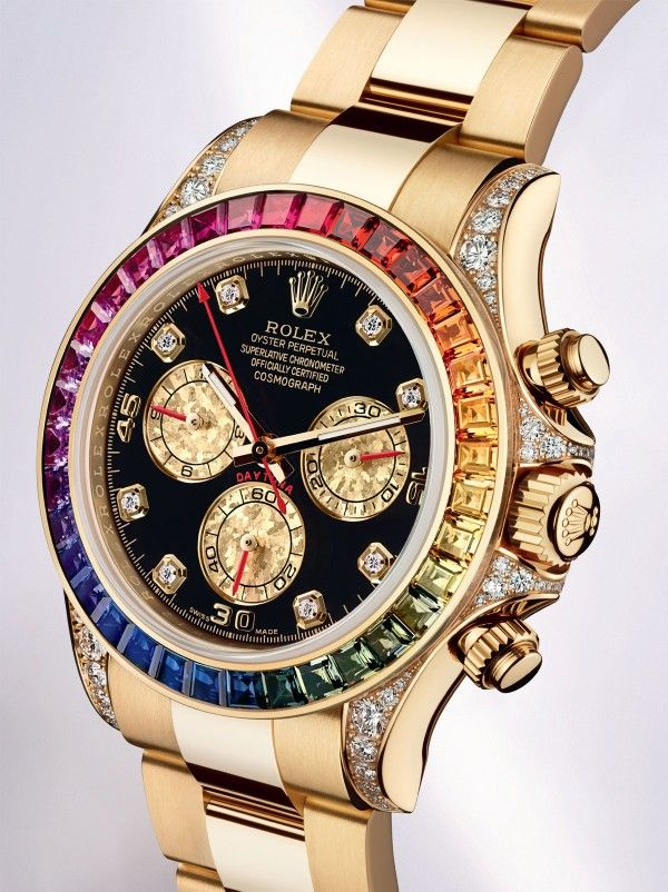 Rolex Cosmograph Daytona Rainbow Watch. The stones are baguette-cut sapphires. The retail price is $89,100 and availability is limited due to the difficulty of matching the coloured gemstones.