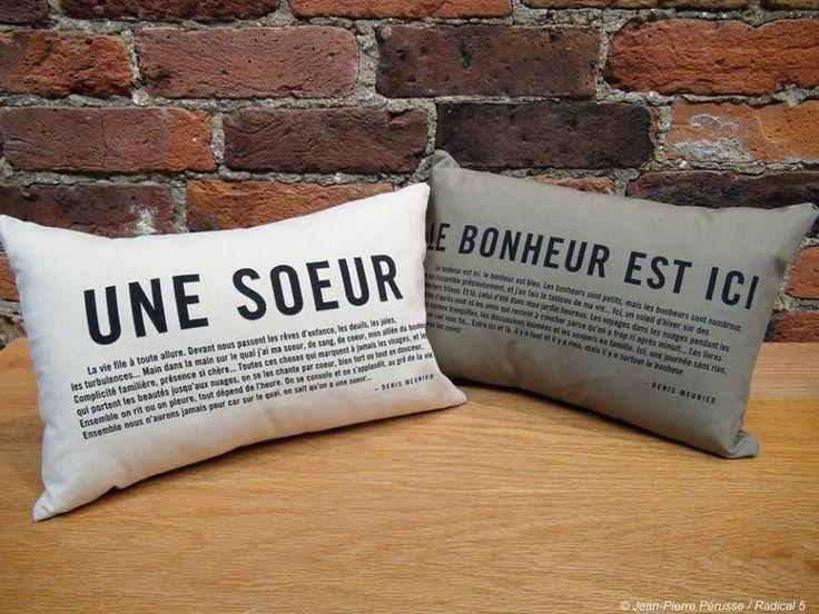 Coussin meunier tu dors, citation, une soeur, le bonheur est ici, idée cadeau, plusieurs autres modèles, Le jardin d'Andrée-Anne, www.lejardin.ca