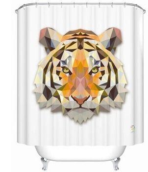 Высокое качество 2015 новых прибыть тигр занавески для душа красочные ванная комната занавес водонепроницаемый занавески для душа