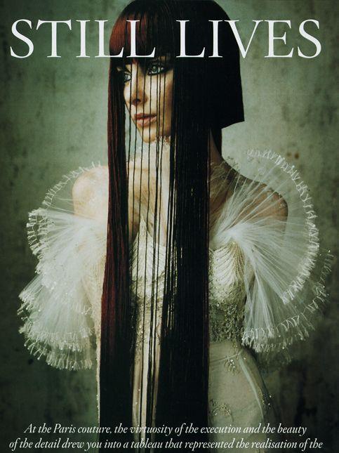 asymmetric hairstyles - long dark hair - still lives - brunette - couture - bazaar uk - fashion -  shot in paris at sala studio in mid-90's photo : ruven afanador,  hair : nicolas jurnjack
