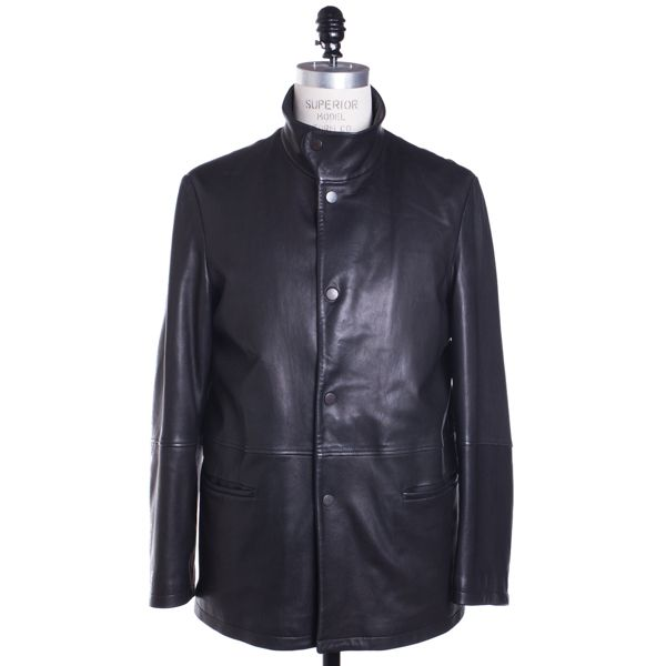 Armani Leather Jacket Size 40 Black Coat | Menswear Market