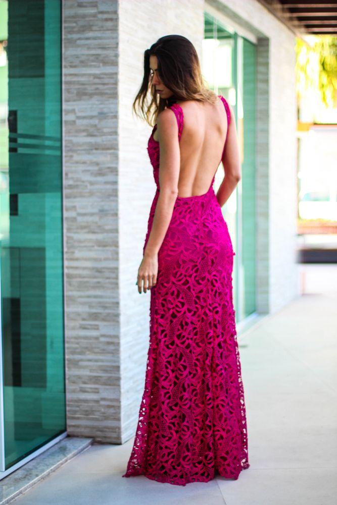 vestidos renda pink