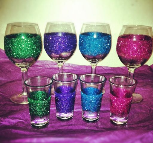 DIY glitter glasses. any glasses, not just wine or shot glasses bridesmaid ideas?!