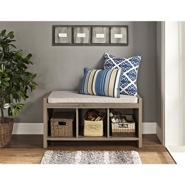 Entry Bench with Cushion Foyer Seating Storage Mudroom Shoe Cubby Nook Chest #EntrywayStorageBench #Contemporary