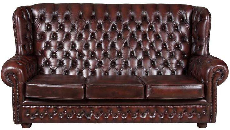 Vintage Oxblood Leather Three Seat Chesterfield Sofa Queen anne, Vintage and Chesterfield sofa