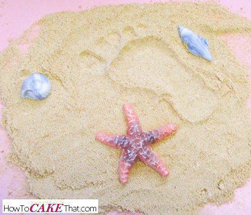 Recipe for realistic edible sand for beach themed cakes! (pudding icing graham crackers)