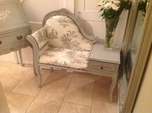 SHABBY CHIC VINTAGE TELEPHONE SEAT / TABLE PAINTED IN ANNIE SLOAN Paris Grey | eBay