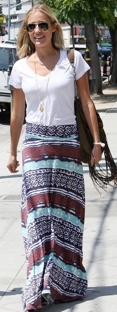 maxi skirtMaxis Skirts Travel, Easy Summer Style, Prints Maxis Skirts, Kristin Cavallari, Easy Maxis Skirts, Bohemian Style, Maxis Skirts Fashion, Chic Clothing, Maxi Skirts