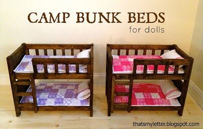 pallet loft bed with plans | Using plans from Ana White here I made two more sets of doll bunk beds ...