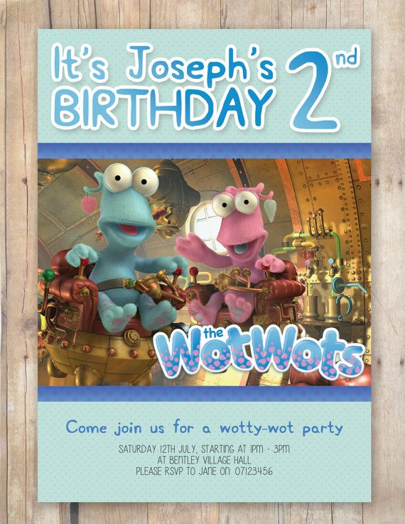 Wotwots Themed Party Invitation by FlurgDesigns on Etsy, £5.00