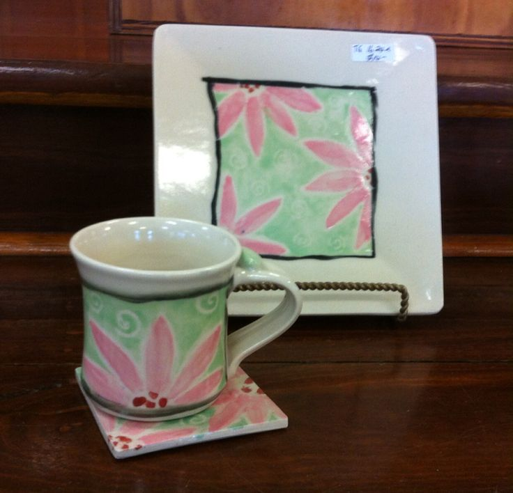 Florals design. Cup, coaster and plate set. Decorated ,Ceramic