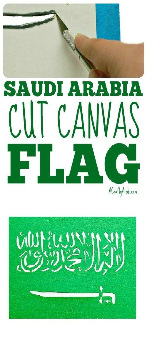 A Crafty Arab: Saudi Arabia Cut Canvas Flag {Tutorial}. Saudi Arabia is located in the Arabian Pensiula and the second largest Arab country, after Algeria. Riyadh is the country's most populous city and its capital.  The green flag has been used by the government since March 15, 1973 and features theshahada and sword in white.  According to Wikipedia – The Arabic inscription …
