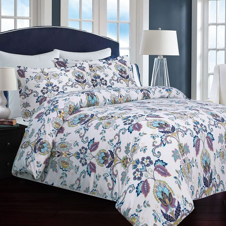 Printed Flannel 3-pc. Luxury Duvet Cover Set, White