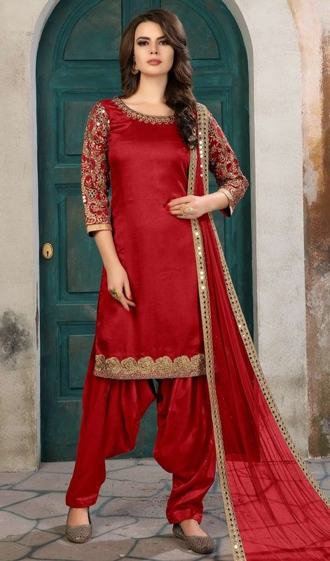 1fd8b87801 Red Color Silk Embroidered Punjabi Suit in 2019 | Places to visit ...
