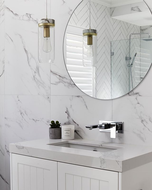 Bathroom BLISS  Tiles by @ambertiles Silverstone Struto extra matt 1200x600 | Vanity made by @carrerabydesign with Statuario Maximus @caesarstoneau | Tap 'jovian' @dorfaustralia | Candle @bordeauxcandles |  @moniqueeaston
