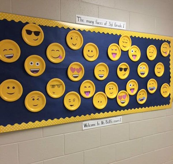 This Emoji idea would be so much fun! {Featured in the Back to School Bulletin Board Ideas Roundup on OneCreativeMommy.com!}