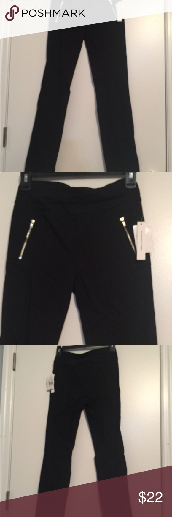 Joe B by joe benbasset Black Stretch Legging . These have faux zipper pockets on front . Pull on style with stretch . 78% Rayon, 20% nylon, 4% spandex. . 21/2 Waist Band . Waist measures 13 inches. Mid- rise 9 inches. Inseam is 28 inches . Small split in back of leg at bottom is 21/2 inches. These have a lot of stretch . J B by joe benbasset Pants Ankle & Cropped
