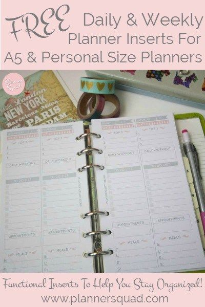 Get your free daily & weekly planner inserts for A5 & personal planner sizes. Functional and cute, these inserts will help you stay organized while you rock your planners!