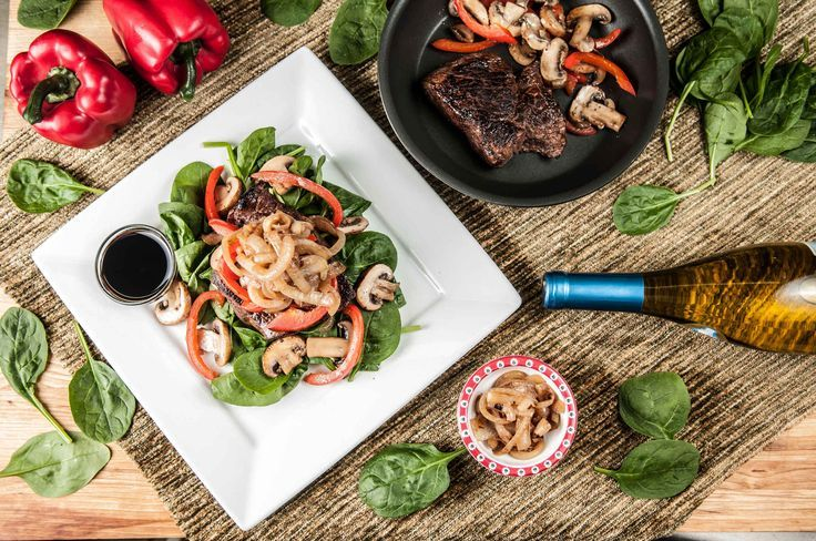 Steak salad with balsamic reduction with caramelized onions and sautéed mushrooms …   – Mushroom recipes sauteed