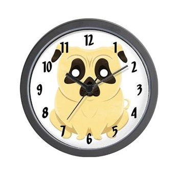 Chubby Pug Wall Clock from cafepress store: AG Painted Brush T-Shirts. #clock #pug #dog