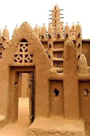 Architecture africaine : terre, ethnie Dogon, Mali, ocre