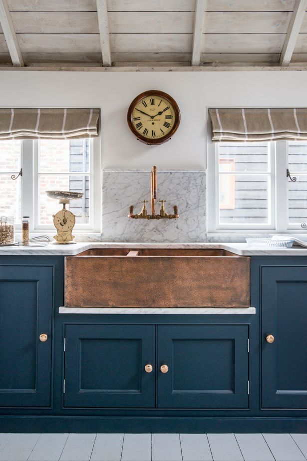 House Decor Inspiration : Darkish teal cupboards mixed with beige white and timber…