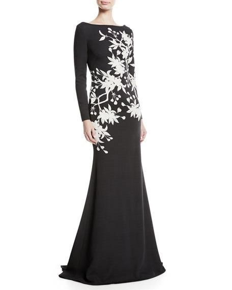 0c38ee195b808 Floral Long-Sleeve Trumpet Gown by NK32 Naeem Khan at Neiman Marcus ...