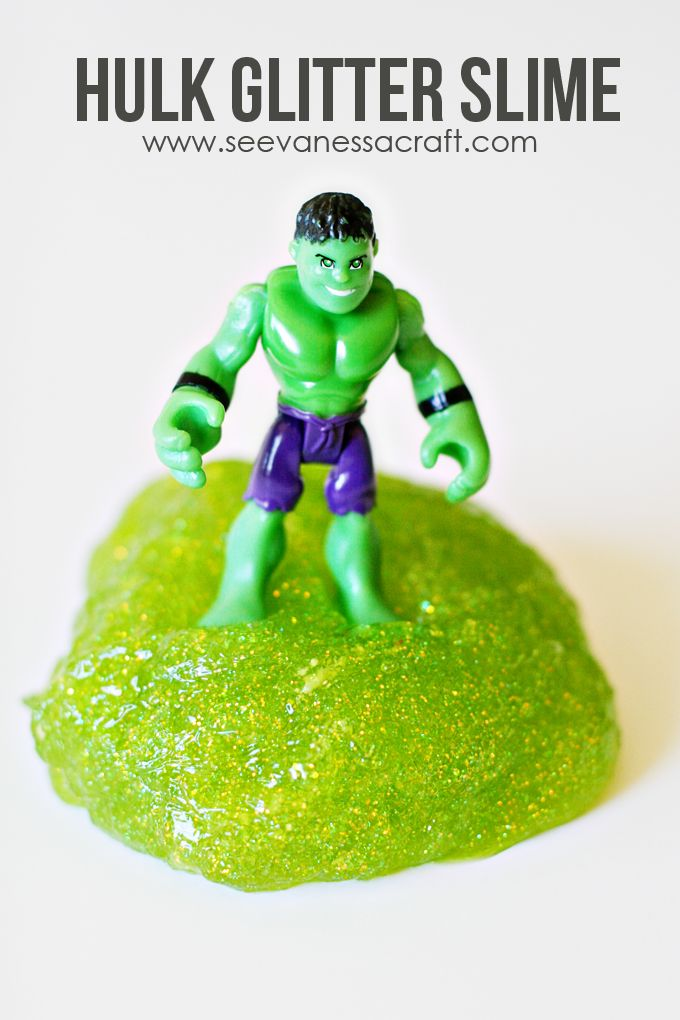 Green Glitter Hulk Monster Slime Recipe - easy recipe that kids will love to play with!