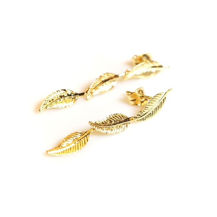 #Bijou Femme :: #Boucles d' #oreilles 3 #plumes - Disponibles en #Or Blanc ou en Or Jaune.
