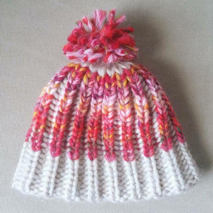 Loom knitted brioche stitch hat by @brittmade