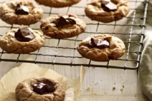 These bite-sized Peanut Butter Chocolate Button cookies taste great by themselves or as a homemade ice cream sandwich!