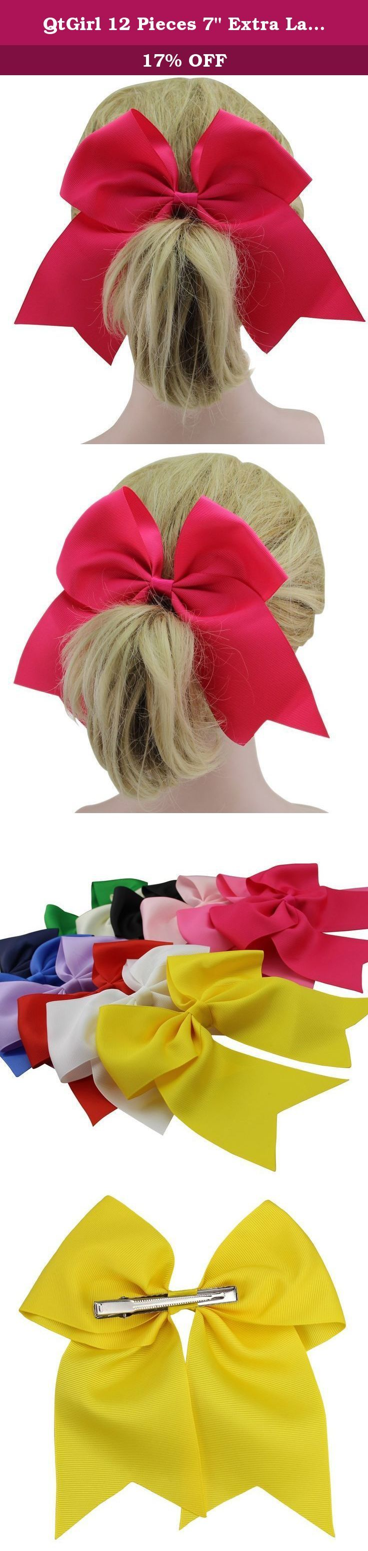 """QtGirl 12 Pieces 7"""" Extra Large Grosgrain Cheerleader Hair Bow with Clip. Why choose bows from Fashionfamily --We started to make bows 5 years ago, with a group of young people who are attracted by the cute and fancy bows, since then we've been striving to provide nice designed and high quality bows for our customers. Till now, we are proud to tell you that: * All bows are handmade by experienced workers, and with even and chic appearances. * The bows from Fashionfamily are made of well..."""