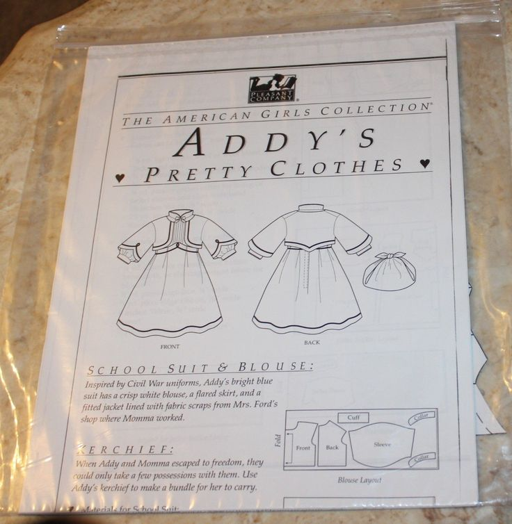The American Girls Collection Addy's Pretty Cloths Patterns 6   eBay
