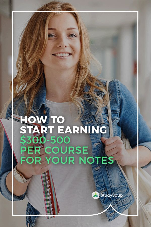 StudySoup pays you for your class notes - signup to get started today. Make $300 to $500 for each course and help your classmates in the process. We work with 300+ colleges and universities. And our top notetakers can make $1200/month! Treat yourself to a vacation, fancy meals or put cash towards tuition. Signup to sell your notes now.