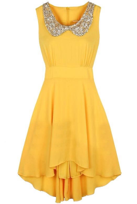 Sequined High Low Waist Dress - Sheinside.com