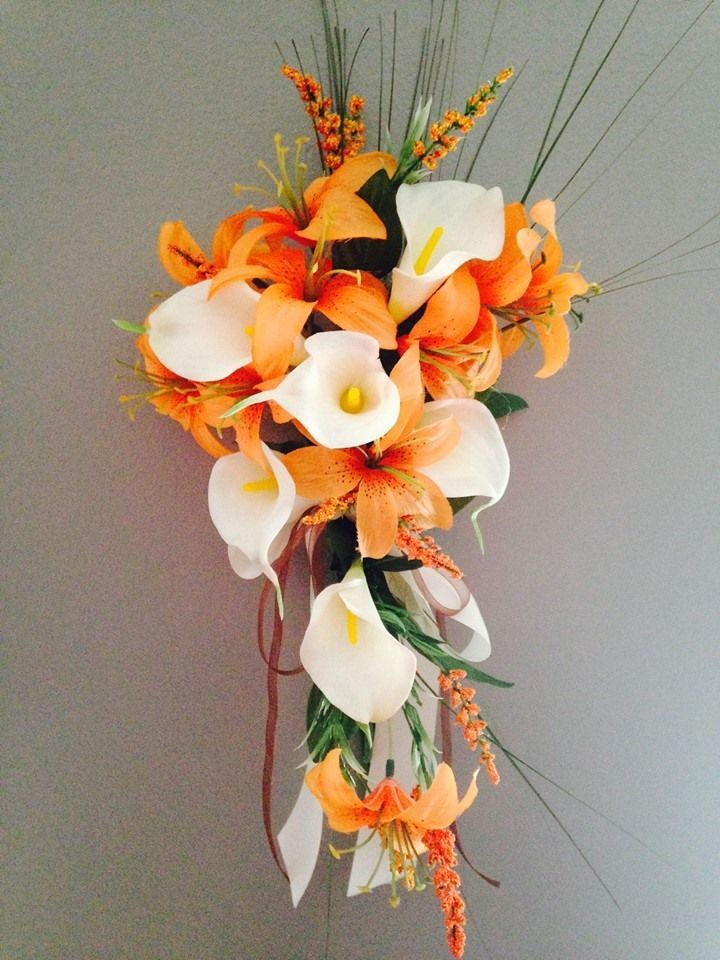 Cream Ivory calla lily with orange small tiger lily cascade bouquet