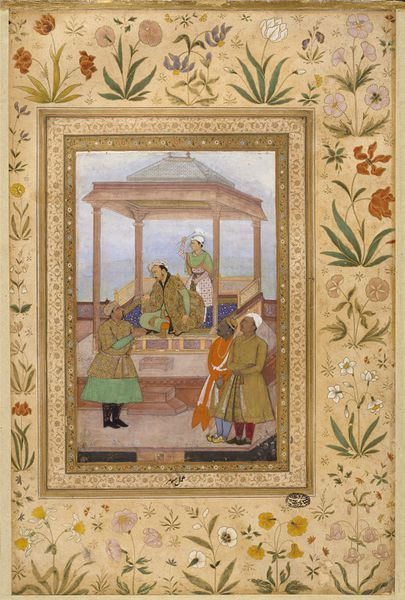 Jahangir on a low platform beneath a red sandstone canopy. Behind him, a young man holds a flywhisk, one of the emblems of royalty. All characters are identified by minute Persian inscriptions. On the terrace, on the left, is the emperor's foster-brother, Qutb al-Din Khan Koka. On the right are Raja Sangram, zamindar of Kharagpur, whose son is the boy holding the fly whisk behind the emperor. Dalpat Ujjainiya, wearing the four-pointed jama of Akbar's reign. Manohar 1605-1627 V&A
