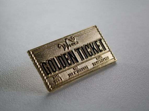 Wow! Lucky you! You just got thee GOLDEN TICKET! Be ready to take on a wild adventure with this new lapel pin! Length : 1.5 inch Width : .75