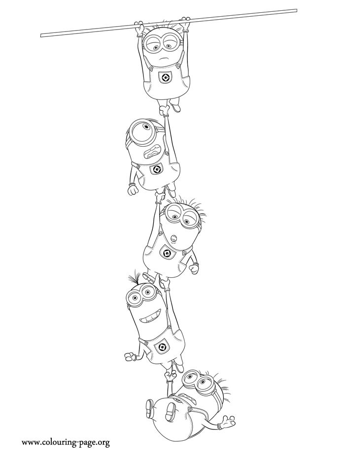 Look! The minions are hanging on each other. How about have fun with this awesome free Despicable Me 2 coloring page? Just print it out!