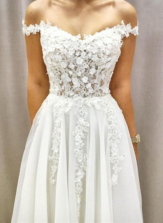 Weißes V-Ausschnitt Tüll Spitze Applique langes Abendkleid, Abendkleid