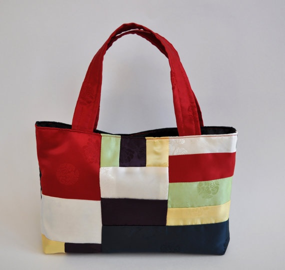 Mool Silk Jogakbo Korean Patchwork Tote Bag by Nunsol on Etsy, $50.00